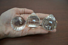 3 PCS ASFOUR SQUARE FACETED ROUND CRYSTAL BALL PRISMS FENG SHUI 40MM #T-2781