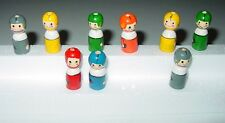 Vintage ? Wood Hand Painted Cake Candle Holders Football Players Loose Unused 9