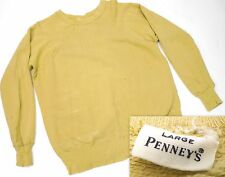 Vintage 50s Penneys Yellow Crew Sweatshirt Destroyed Holes Paint Distressed L