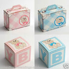 Best Quality DIY Baby Blue Pink Boy Girl Teddy Christening Favour Favor Boxes