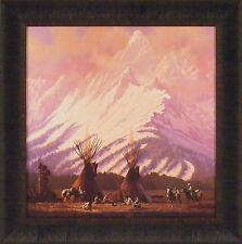 DINNER WITH A VIEW by Roy Kerswill 23x23 FRAMED PRINT Teepee Tipi Native Indians