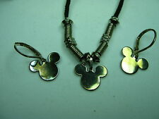 Mickey Mouse Disney signed Necklace Pendan tSilver Tone Earrings Hoop lever back