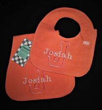 Personalized Side Fasten Flannel Bib/Burp Cloth Set-solid colors