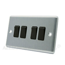 Brushed Satin Chrome Classical 4 Gang Quad 2 Way Light Switch CSC4GSWIBL