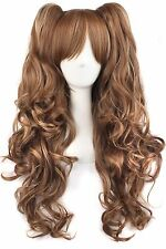 MapofBeauty Multi-color Lolita Long Curly Clip on Ponytails Cosplay Wig (Brow...