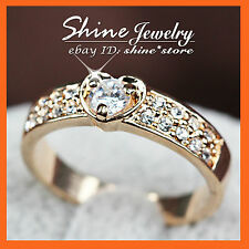 18K ROSE WHITE GOLD GF 1CT HEART SWAROVSKI CRYSTAL WOMEN GIRLS WEDDING BAND RING
