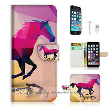 "iPhone 6 (4.7"") Print Flip Wallet Case Cover! Abstract Horse P0216"