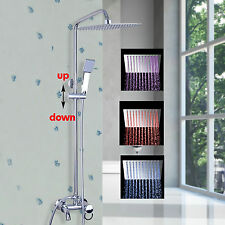 LED Chrome Bathroom Bath Shower Tub LED Rain Shower Head W/Hand Spray Shower Set