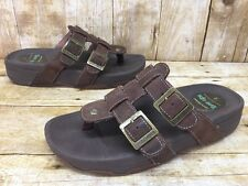 Skechers Tone-Ups Brown Leather Buckle Toning Sandals Thongs Womens sz 8