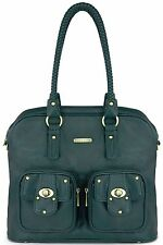 Timi & Leslie Rachel Faux Leather 7 Pc Baby Diaper Bag Set Deep Teal  NEW 2016