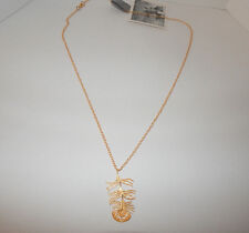 ANTHROPOLOGIE NECKLACE GOLD TONE PENDANT DANGLING LOBSTER CLASP NEW #1571