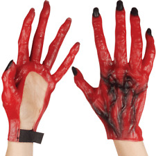 LATEX GREEN MONSTER DINOSAUR DRAGON ZOMBIE RED DEVIL COSTUME HANDS CLAWS GLOVES