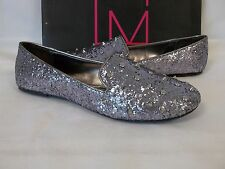 Material Girl 8 M Spike Silver Glitter Studded Flats Loafers New Womens Shoes