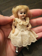 "Antique Victorian Detailed 4"" Glass Eyes Dollhouse Doll Mignonette Simon Halbig?"