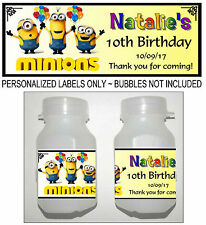 30 MINION BIRTHDAY PARTY FAVORS BUBBLE LABELS