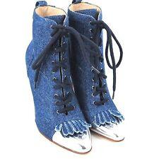 K-MB3065 New Manolo Blahnik Denim LaceUp Pump Patent Boots Heels SizeUS 5 35