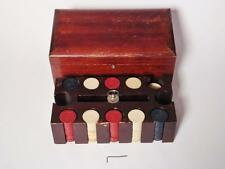 215 Antique Clay Poker Chips 5, 10, 50 with Wood Case