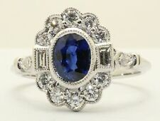 18ct. White Gold Art Deco Style Ceylon Sapphire and Diamond Cluster Ring