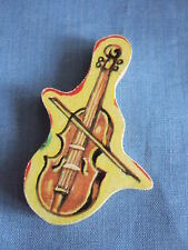 Vintage  Wooden Up-Cycled Upcycled Brooch Pin VIOLIN Jigsaw