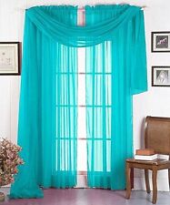3PC 2 SHEERS TURQUOISE WINDOW CURTAIN PANELS & 1 ELEGANT SWAG SCARF VALANCE