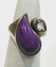 STERLING SILVER RING WITH SUGILITE AND AMETHYST SIZE 7 N492-Y