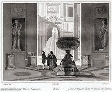 Roma: Musei Vaticani: Cortile Ottagonale. Audot. Acciaio. Stampa Antica. 1836