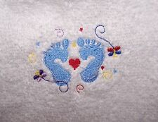 """""""PERSONALIZED EMBROIDERED BABY BOY HOODED BATH TOWEL"""" FEET 100% COTTON"""