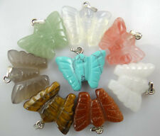 16*22MM NATURAL butterfly multicolor agate PENDANT GEM/GEMSTONE LOOSE BEAD 12pcs
