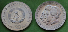 MONETA COIN DEUTSCHE DEMOKRATISCHE REPUBLIK 20 MARK 1971 LUXEMBURG LIEBKNECHT