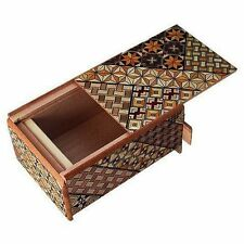 Traditional Japanese Hakone Yosegi Wooden Secret Puzzle Trick Box 7 Steps