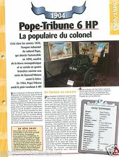 Pope-Tribune Runabout Type 6 HP 1 Cyl. 1904 England Car Auto Retro FICHE FRANCE