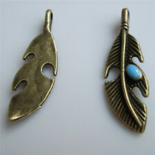 10 Fashion Antique Bronze Feather Blue Enamel Charm Pendants For Jewelry Making