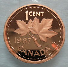 1987 CANADA 1 CENT PROOF PENNY COIN
