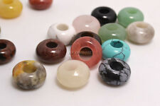 50X Natural Stone Gemstone Round Loose Beads 5mm Big Hole Fit European Bracelets
