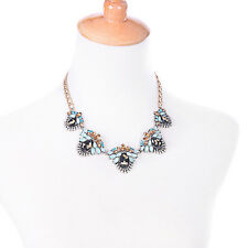 N3377 Fashion Inspired Aqua Black Stone Crystal Stacked Trevi Statement Necklace