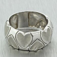 Ladies Vintage Estate 18k Solid White Gold Love Hearts Wedding Band Ring Italy