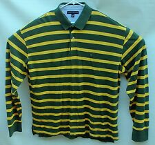 Mens Tommy Hilfiger Long Sleeve Polo Golf Shirt XXL Yellow And Green Stripes EUC