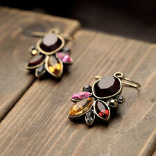 Boucles d`Oreilles Chandelier Ambré Marron Rouge Rose Retro Vintage Baroque CC 2