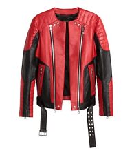 Balmain x H&M Red Leather Biker Moto Jacket - Size US 36R