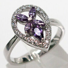 SPECIAL SALE BIN $9.99 MARQUISE AMETHYST 925 STERLING SILVER RING SIZE 6