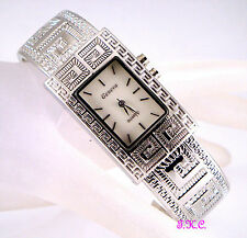 Vintage Deco Greek Key Mosaic, Silver Rhodium Plated Bangle, Light Up Watch Cuff