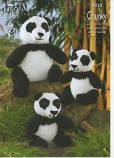 KING COLE 9013- ADULT AND BABY  PANDA IN CUDDLES CHUNKY KNITTING PATTERN
