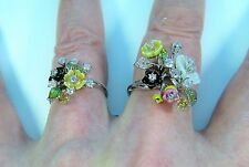 CITRINE/M.O. PEARL DOUBLE FLOWER RINGS #8 & #6  14k White Gold/Enamel/925 Silver