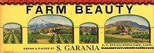 CRATE LABEL ORANGE COUNTY RARE FARM BEAUTY BUENA PARK ORIGINAL VINTAGE 1930S