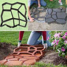 1*Black Driveway Concrete Stepping Stone Path Maker Paving Pavement DIY Mold NE
