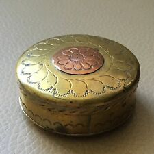 Antique Asian Indian Brass Copper Engraved Trinket Jewellery Stud Cufflnk Box