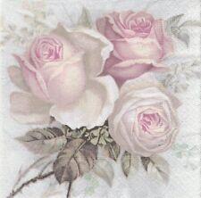 2 Serviettes papier Fleur Roses Sagen Vintage Decoupage Paper Napkins Big Rose