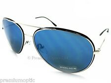 POLICE Metal Aviator Sunglasses Black / Blue Mirror Size 55 Small S8299 583B
