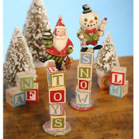 CHRISTMAS TOY BLOCK Santa Snowman Figurines Set of 2 Greg Guedel Bethany Lowe