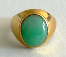 20th Century 22K Gold CabochonJadeite Jade Ring A Grade Imperial Vintage Antique